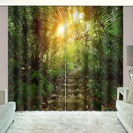 Stony Track in Jungle Sunshine through Blackout Vivid Green Plants Curtain