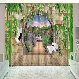 Bamboo and Cranes Natural Drapes Print Curtain for Guestroom