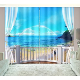 3D Printed Seaside and Blue Sky with Rainbow Natural Scenery Custom Curtain
