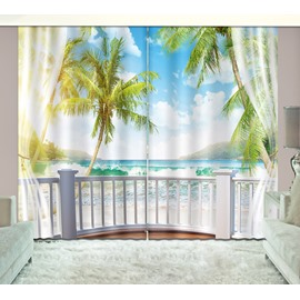 3D Waves and Blue Sky Printed Beach Scenery Custom Living Room Curtain