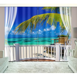 3D Printed Beach with White Clouds and Boat Scenery Custom Living Room Curtain