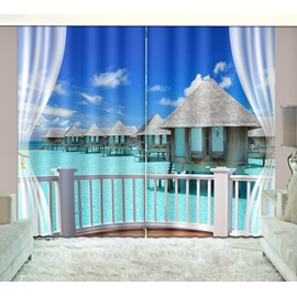 3D Printed Tropical Beach with White Clouds Scenery Custom Living Room Curtain