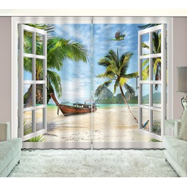 3D Printed Beach with Boat and Coconut Trees Scenery Custom Living Room Curtain