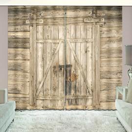 3D Printed Rustic Vintage House Wooden Barn Door Curtains