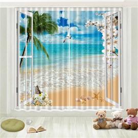 3D Tropical Beach Sea Gull Blue Sky Coconut Palm Printed Curtain