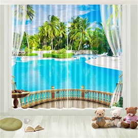 3D Tropical Travel Seaside Beach Blue Sky White Cloud Coconut Palm Printed Curtain