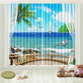 3D Tropical Sea Gull Seaside Beach Blue Sky White Cloud Printed Curtain