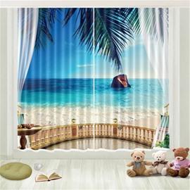 3D Blue Sky Green Coconut Seaside Island Printed Curtain