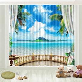3D Blue Sky White Cloud Seaside Island Printed Curtain