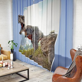 Vivid and Realistic Dinosaur Pattern 3D Printed Polyester Curtain