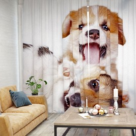 Vivid and Cute Puppy Pattern 3D Printed Polyester Curtain
