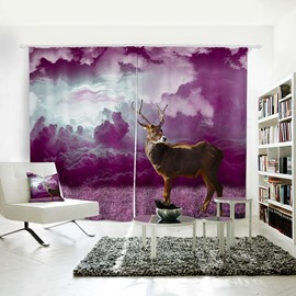 Vivid and Cute Deer Pattern 3D Printed Polyester Curtain