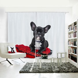 3D Printed Vivid Dog Pattern Polyester Curtain