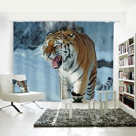 3D Printed Vivid Tiger Pattern Polyester Curtain
