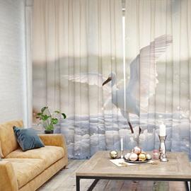 Vivid Egret Pattern 3D Printed Polyester Curtain