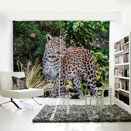 Vivid Leopard Pattern 3D Printed Polyester Curtain