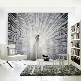 Vivid and White Peacock Pattern 3D Printed Polyester Curtain