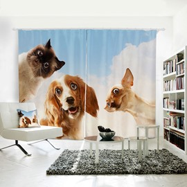 Vivid Dogs Pattern 3D Printed Polyester Curtain