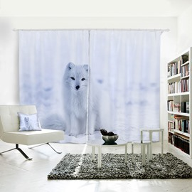 Vivid and Cute Polar Bear Pattern 3D Printed Polyester Curtain