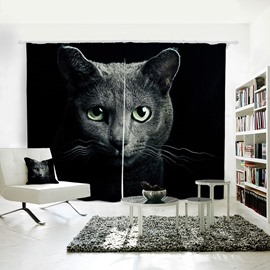 3D Printed Vivid Cat Pattern Polyester Curtain