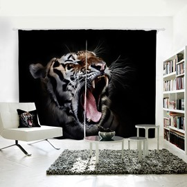3D Blackout Tiger Pattern Printed Polyester Curtain