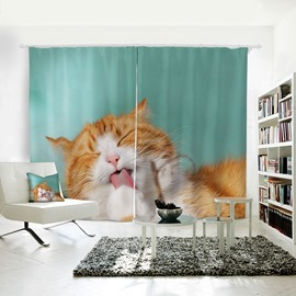 Vivid and Lovely Cat Pattern 3D Printed Polyester Curtain