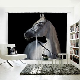 3D Printed Vivid Horse Pattern Polyester Curtain