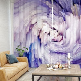 Lavender Abstract Art Pattern 3D Printed Polyester Curtain