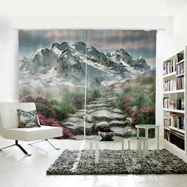 A Path to the Snowy Mountain Pattern 3D Polyester Curtain