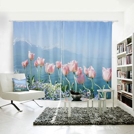 Blue Sky Lake and Beautiful Flowers Pattern 3D Polyester Curtain