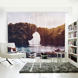 Small Island Sea and Reef Pattern 3D Polyester Curtain