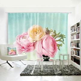 3D Waterproof Polyester Romantic Flowers Pattern Digital Printing Curtain