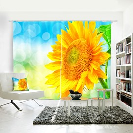 3D Sunflowers and Blue Sky Printed Curtain for Dining/ Living Room