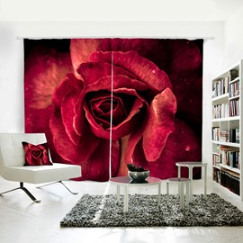 3D Fresh Red Rose Romantic Printed Polyester Custom Grommet Top Curtain for Living Room