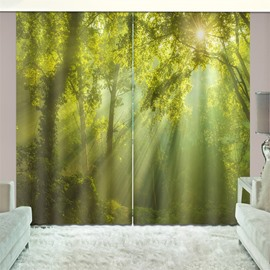 3D Printed Forest and Grass Natural Wilderness Scene Print Curtain for Living Room