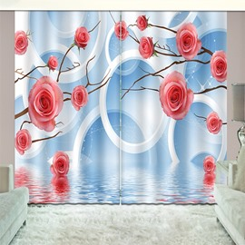 3D Printed Elegant Blue Shading Cloth Custom Curtain for Living Room