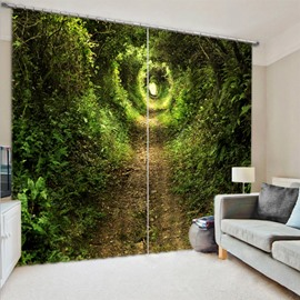 3D Blackout Forest Pathway and Grass Natural Wilderness Scene Print Curtain