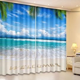 Beddinginn Blackout Blue Sky and Seaside Modern Curtains