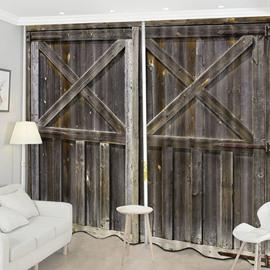 Beddinginn Decoration 3D Old Wooden Barn Door Curtain