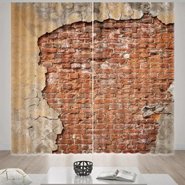 Beddinginn 3D Print Brick Wall Pattern Blackout Curtains