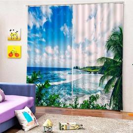 Beddinginn Blackout 3D Blue Sky and Seaside Creative Curtain Curtains/Window Screens