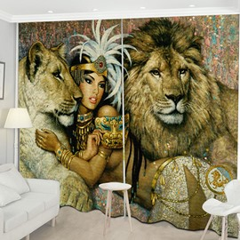 Beddinginn Modern Decoration 3D Lion Curtain Curtains/Window Screens