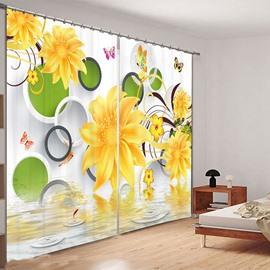 Beddinginn 3D Yellow Flowers Curtain Modern Blackout Curtains/Window Screens