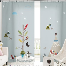 3D Cartoon Creative Trees with Decorations Printed Custom Semi Blackout Curtains