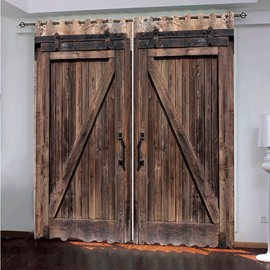 3D Old Wooden Barn Door Decorative Polyester Custom Blackout Curtains for Living Room and Bedroom