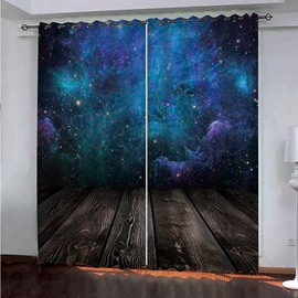 Fantastic Blue Starry Sky Painted Darken Polyester 3D Scenery Blackout Curtains