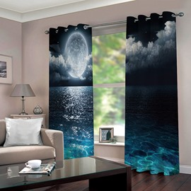 3D Night Sky Blackout Decorative Curtains Full Moon and Foggy Clouds with Turquoise Glass Like Sea Ocean Print