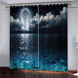 3D Printed Night Sky Window Curtains Modern Polyester Decoration Blackout Full Moon and Foggy Clouds with Turquoise Glass Like Sea Ocean Print