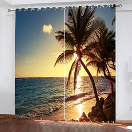 3D Sunset Beach Landscape Window Curtains Digital Printing Modern Polyester Blackout Water-proof Decorative Curtain