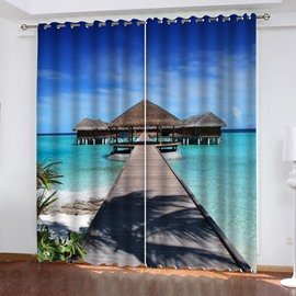 3D HD Digital Print Scenery Blackout Living Room Curtains with Maldives Beach Pattern